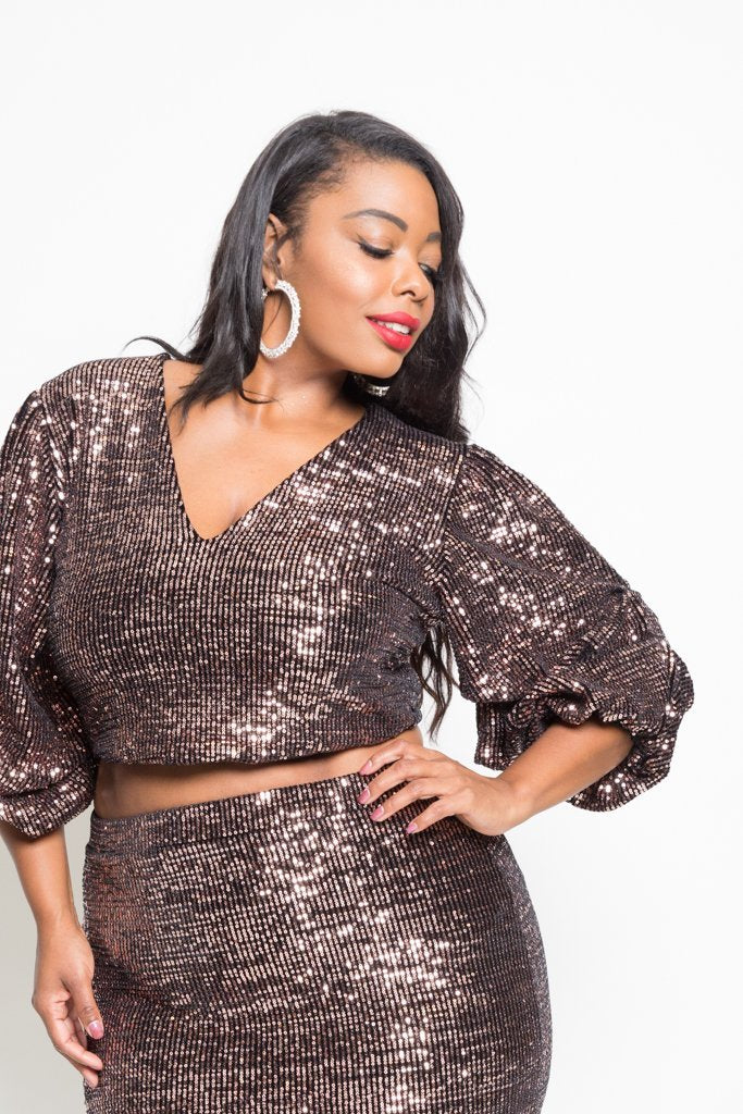 655d2b402cb Plus Size Sparkling Sequin Crop Top Mini Skirt Set  SALE  – slayboo