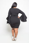 Plus Size Elegant Bell Sleeve Bodycon Dress