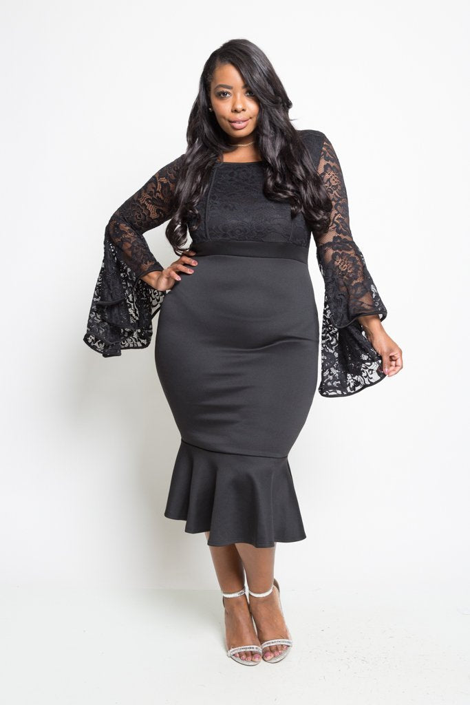 6c03e817d58 Plus Size See Through Lace Ruffle Midi Dress – slayboo