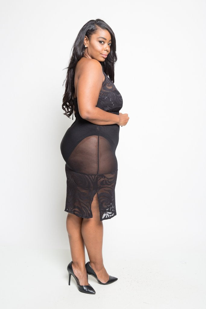 Plus Size Sexy See Through Mesh Dress – slayboo 753259bca