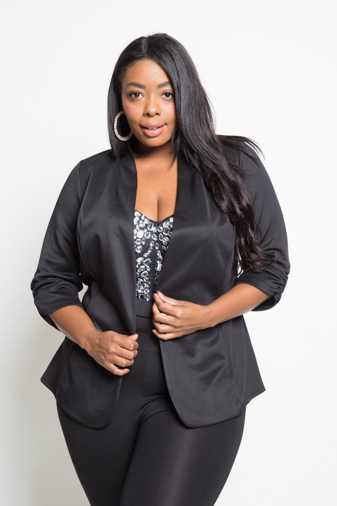 Plus Size Classic Ruched Sleeved Blazer