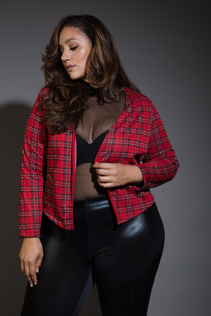 Plus Size Casual In Plaid Work Blazer