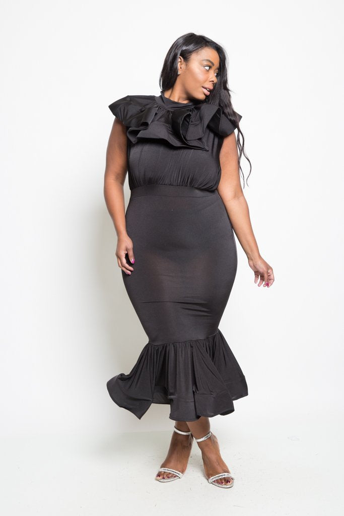 Plus Size Tiered Ruffle Mermaid Maxi Dress [SALE]