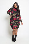 Plus Size Sexy Long Sleeve Floral Mesh Mini Dress [SALE]
