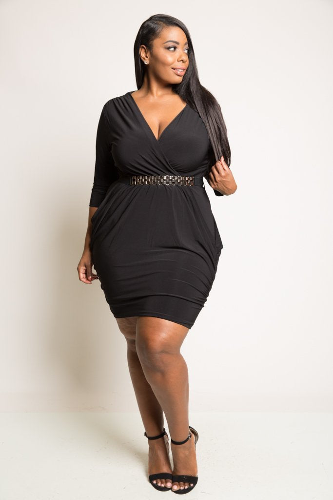 Plus Size Block Chain Belt Mini Dress