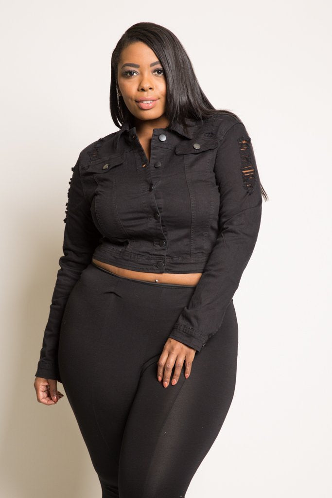 c51aaf6b7e Plus Size Sexy Cropped Denim Jacket – slayboo
