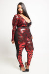 Plus Size Deep V-Neck Sequin Jumpsuit