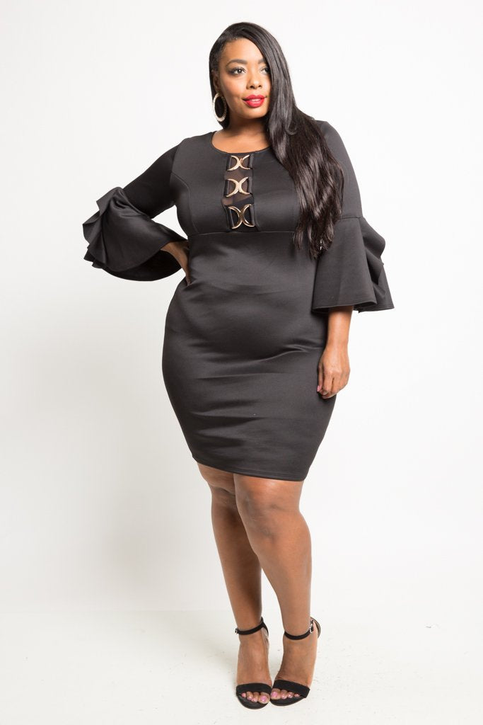 Plus Size Chain Accent Bell Sleeve Mini Dress