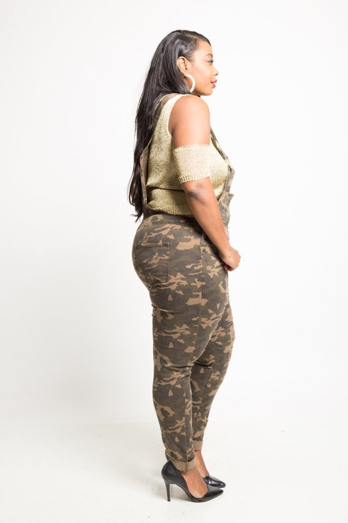 8707ee13162 Plus Size Distressed Camo Twill Overall – slayboo