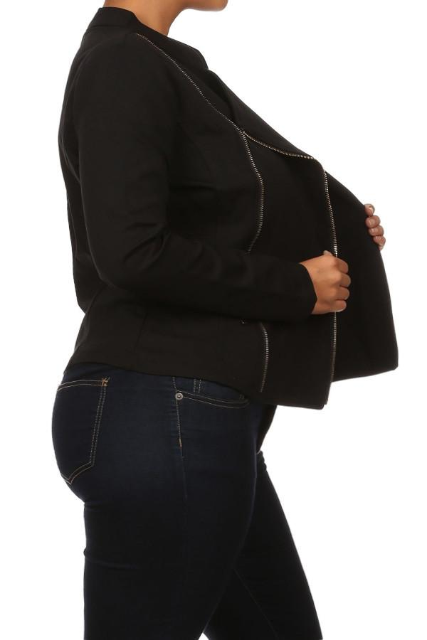 Plus Size Night Rider Zippered Moto Knit Jacket