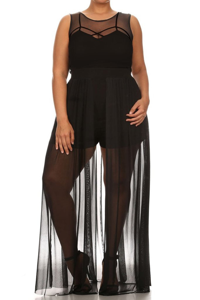 See Through Plus Size Romper With Maxi Overlay Slayboo