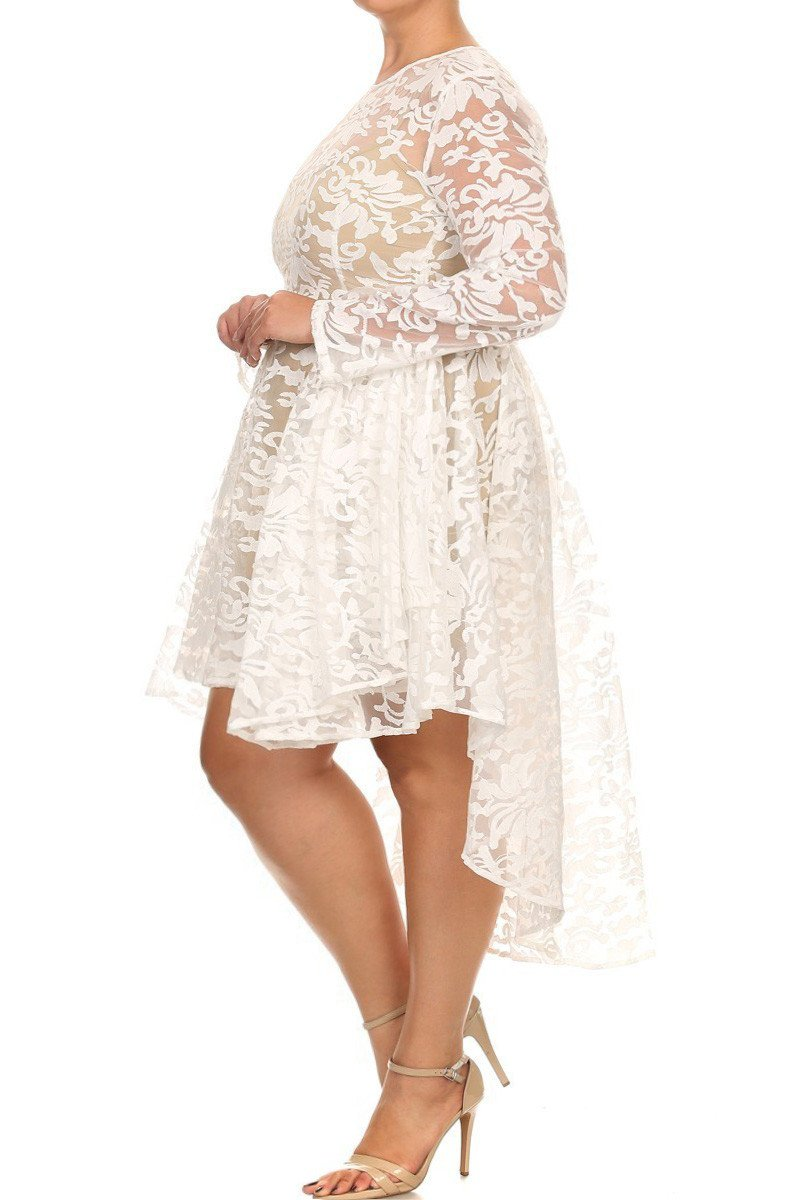 See Through Detailed Hi Lo Lace Plus Size Dress – slayboo