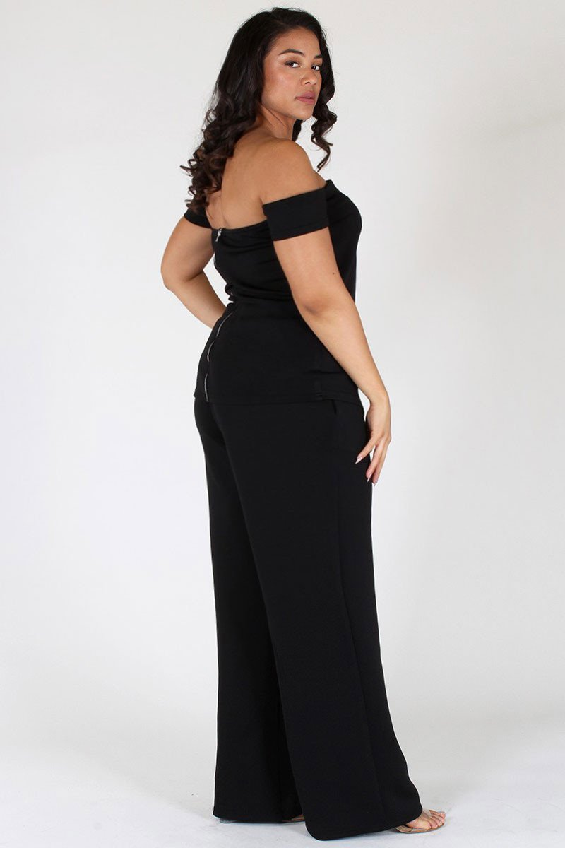 Plus Size Chic Off Shoulder Top and Bottom Set [SALE]