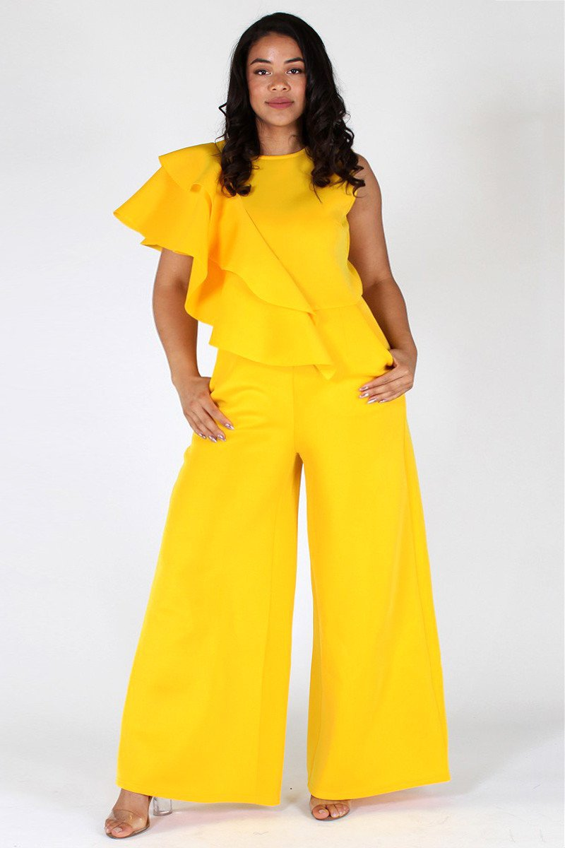 Plus Size Ruffled Trim Side Maxi Leg Jumpsuit