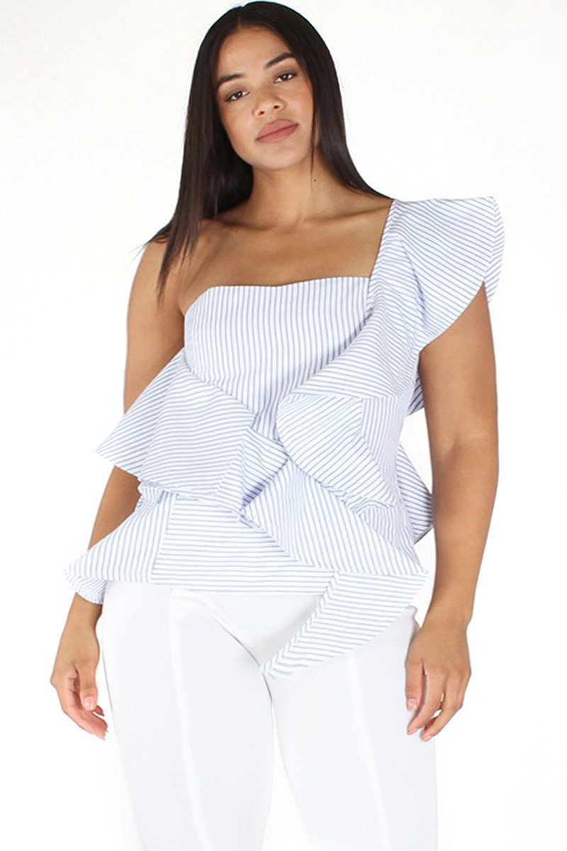 Plus Size Summer BAE Ruffled Seersucker Stripe Peplum Top