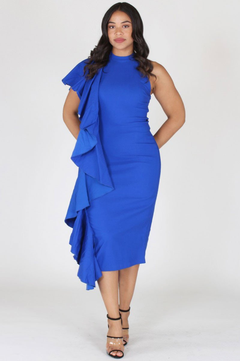 Plus Size Glam Sleeveless Ruffled Side Trim Dress