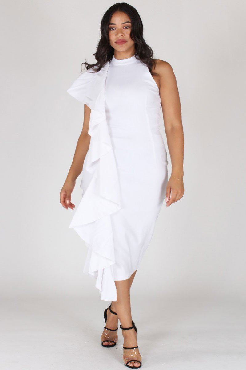 Plus Size Glam Sleeveless Ruffled Side Trim Dress White [SALE]