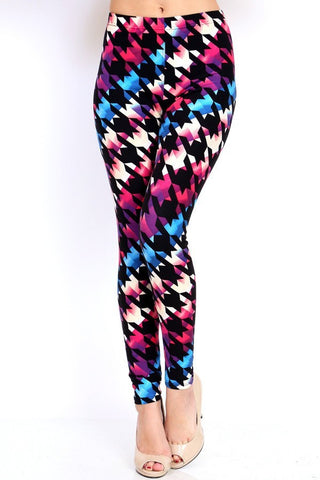 Multi Colored Houndstooth Print Leggings