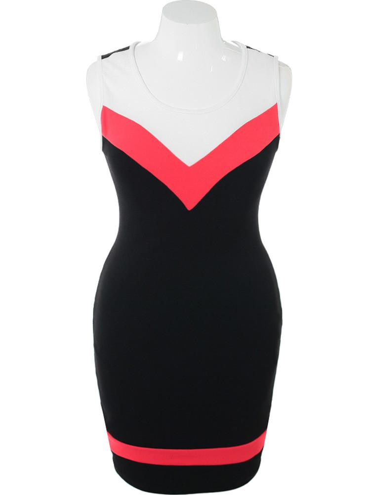 Plus Size Sexy Color Block Black Dress