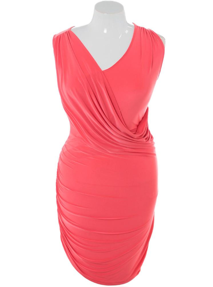 Plus Size Silky Draped Coral Dress