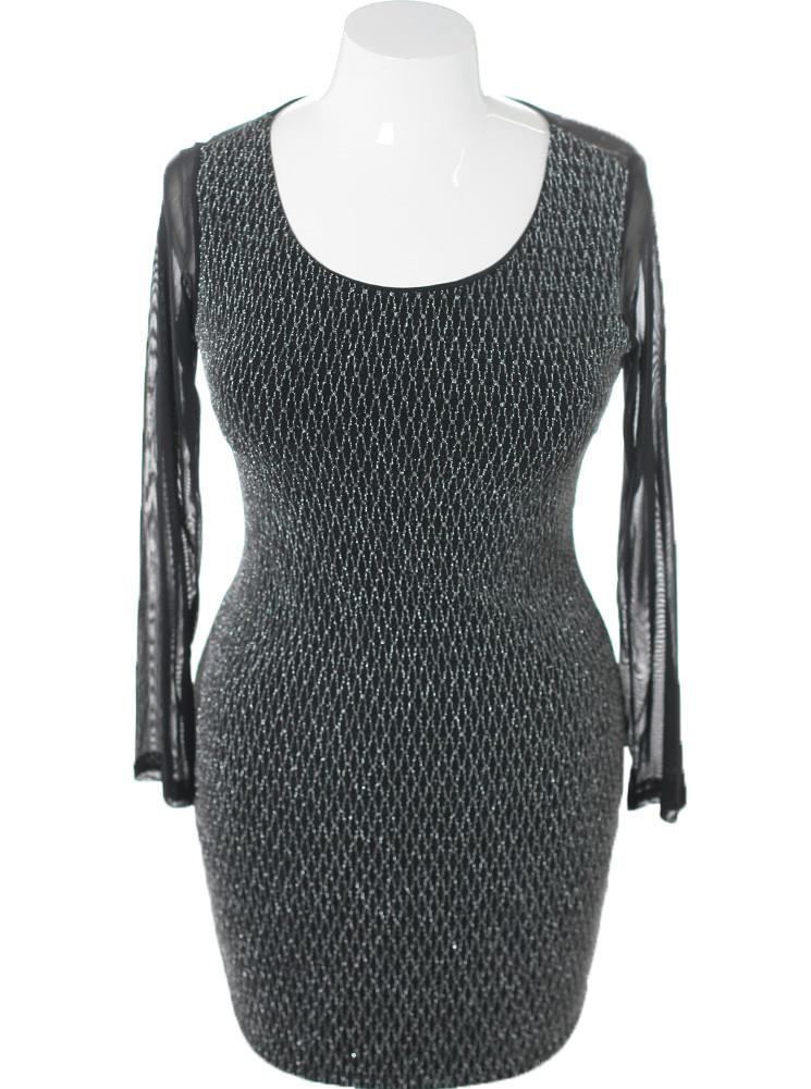 Plus Size Silver Shimmer Mesh Sleeves Dress