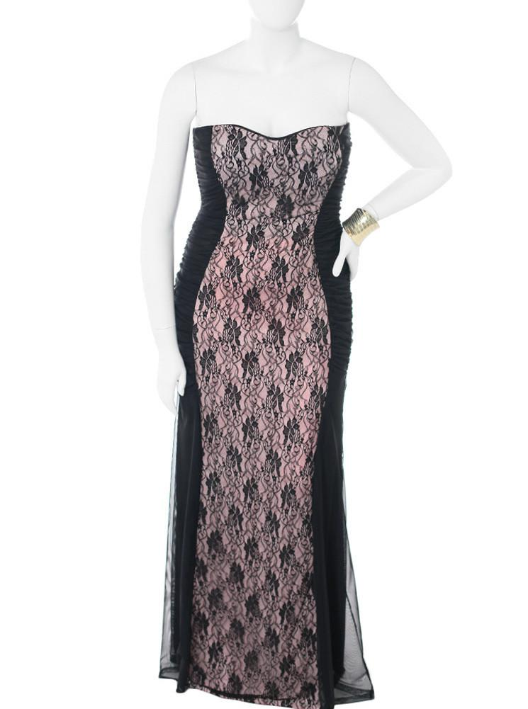 Plus Size Floral Lace Pink Maxi Dress