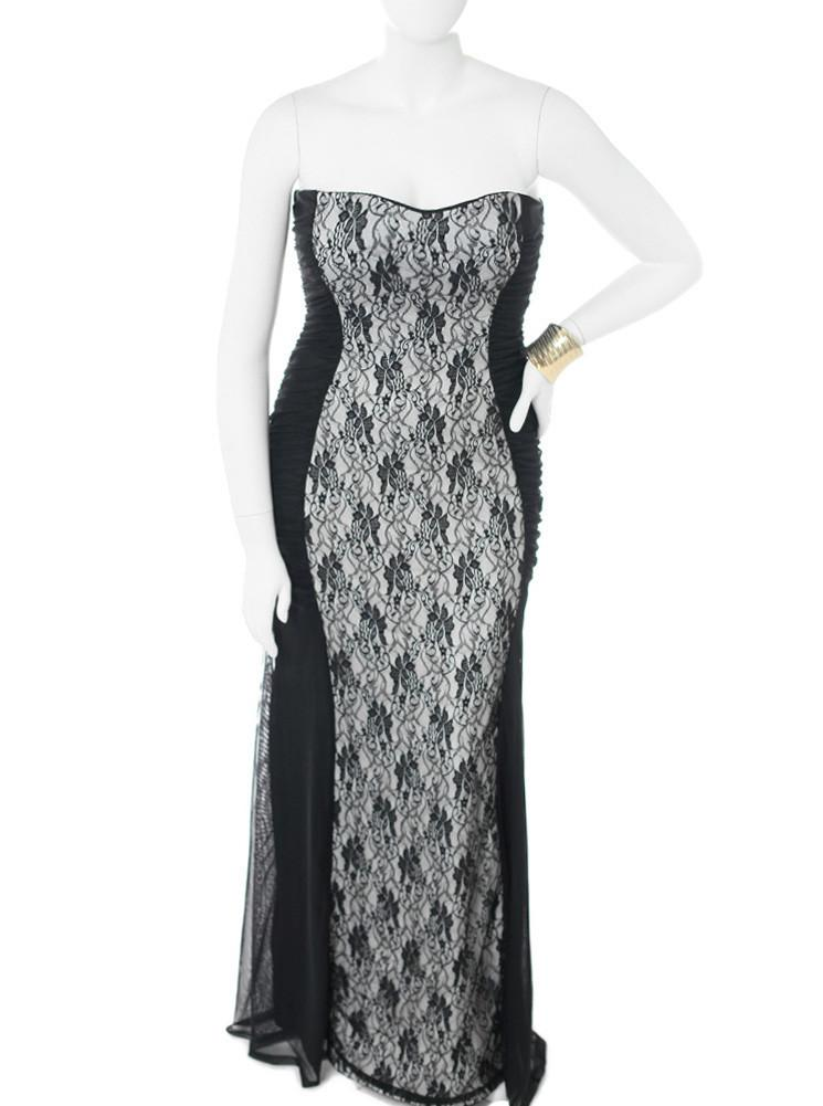 Plus Size Floral Lace White Maxi Dress