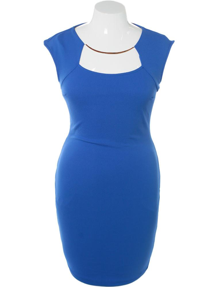 Plus Size Glam Necklace Blue Midi Dress