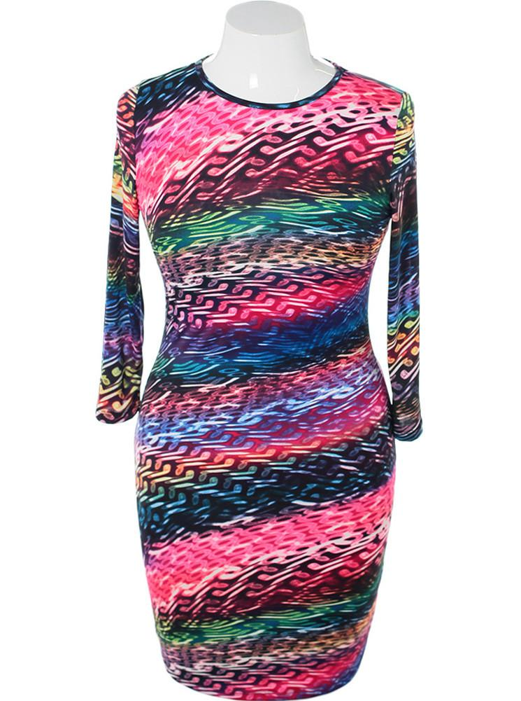 Plus Size Colorful Abstract Midi Dress