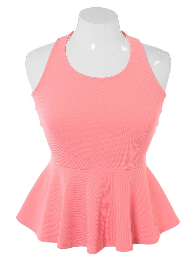 Plus Size Criss Cross Peplum Peach Top