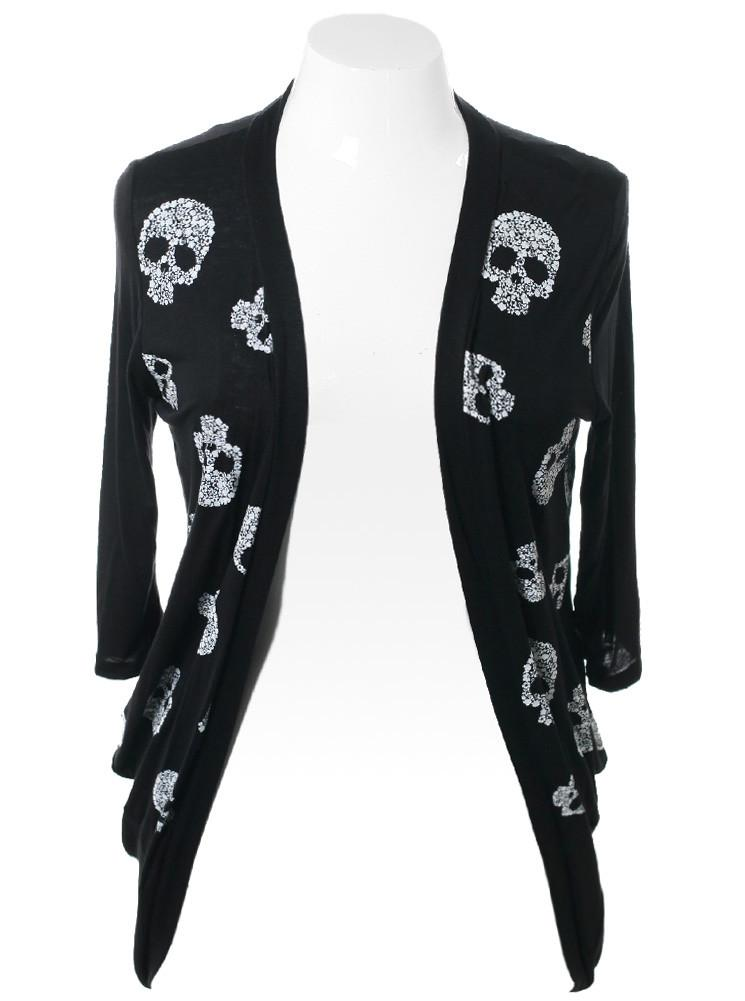 Plus Size Skull Pattern Open Black Cardigan