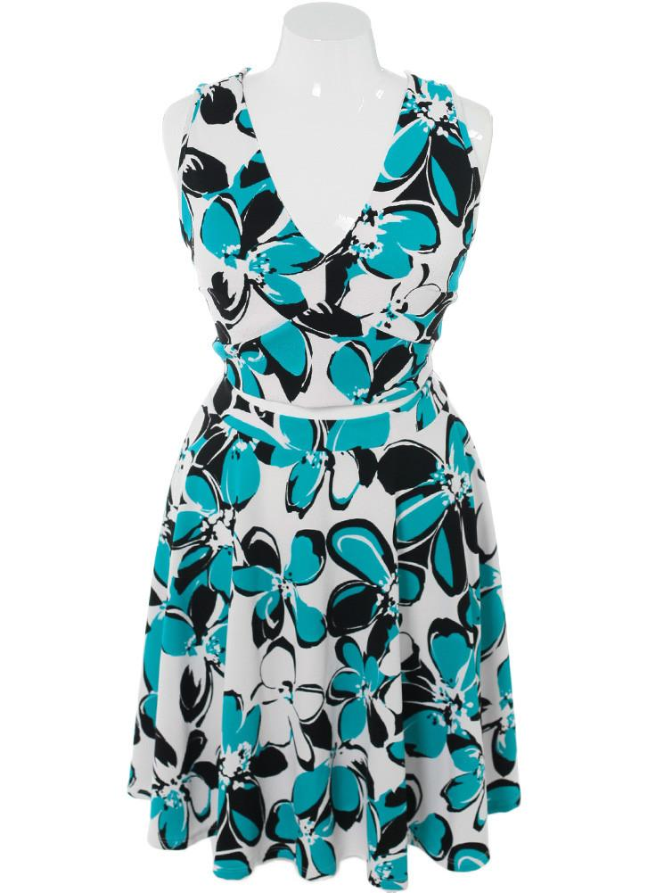 Plus Size Floral Daze Midriff Cut Out Blue Dress