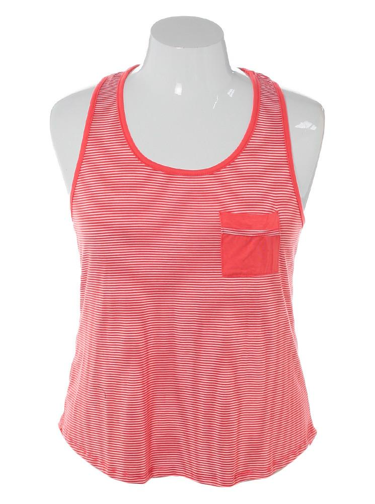 Plus Size Delightful Striped Orange Tank