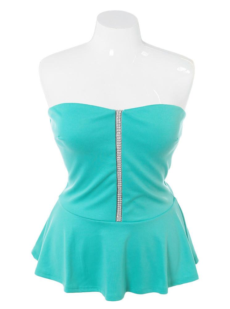 Plus Size Diamond Studs Peplum Mint Top