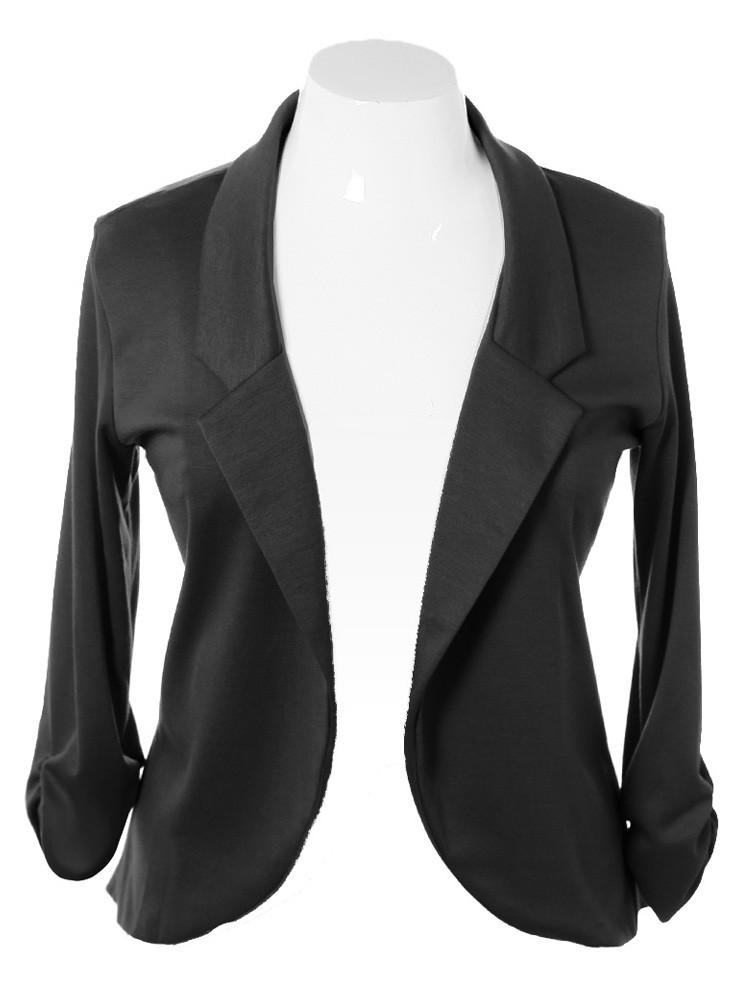 Plus Size Chic Open Front Black Blazer