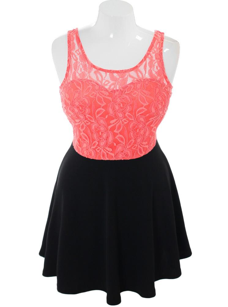 Plus Size For Love Floral Lace Coral Dress