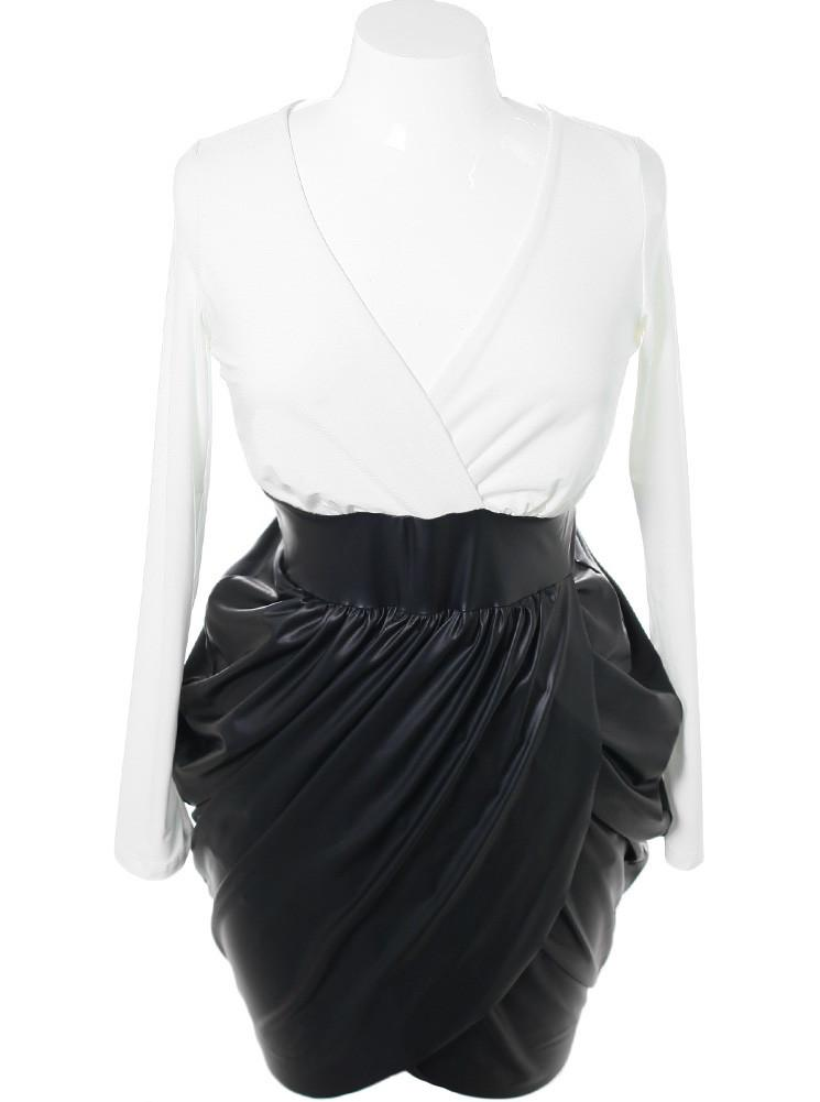 Plus Size Bubble Leather Skirt White Dress
