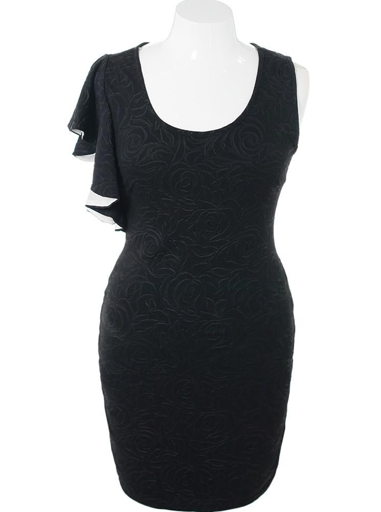 Plus Size Glamour Shoulder Textured Black Dress