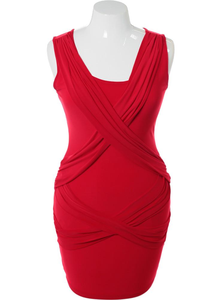 Plus Size Criss Cross Front Red Dress