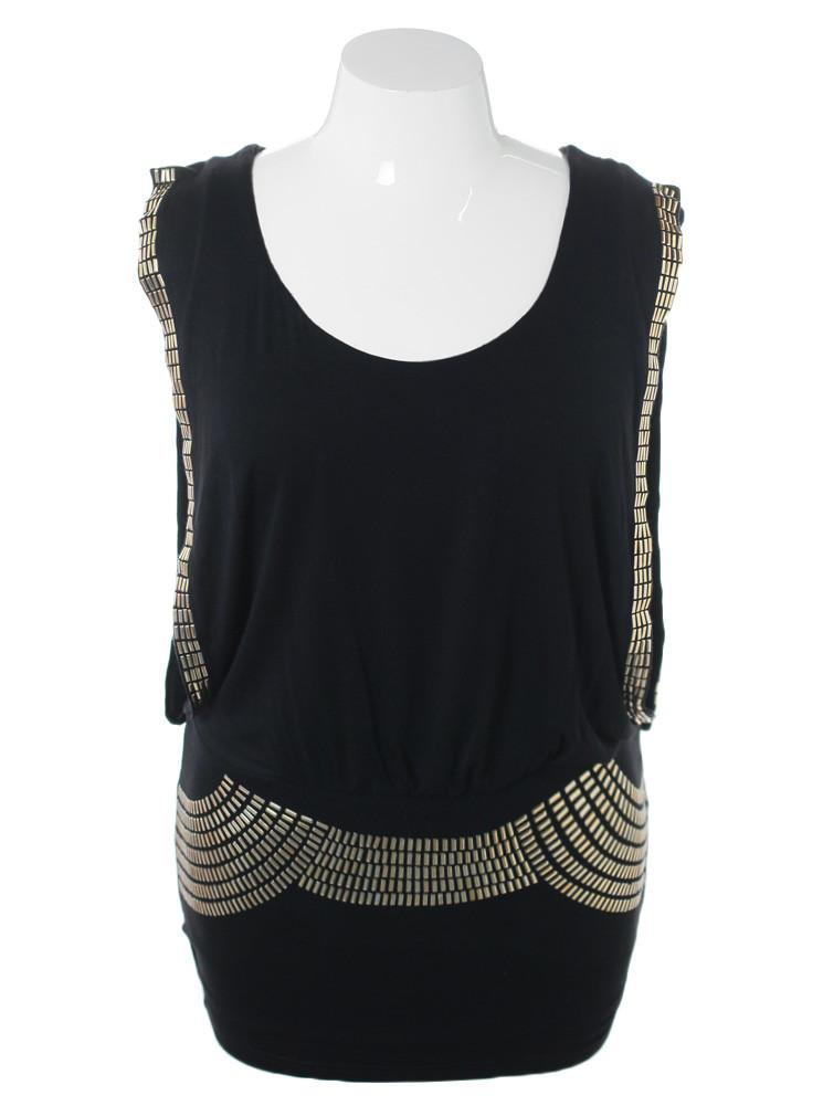 Plus Size Sleeveless Gold Studded Long Black Top