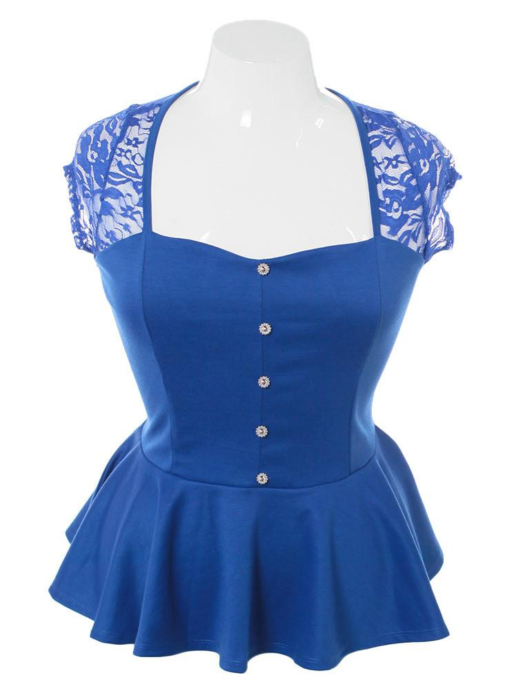 Plus Size Peplum Lace Blue Top