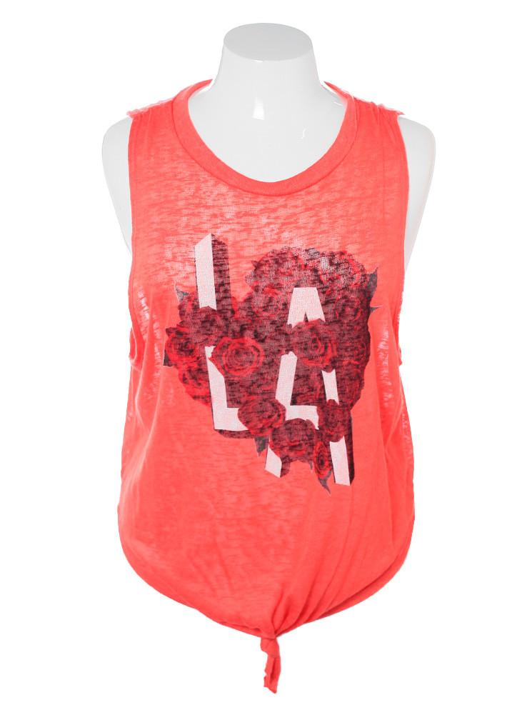 Plus Size Sleeveless LA Rose Orange Top