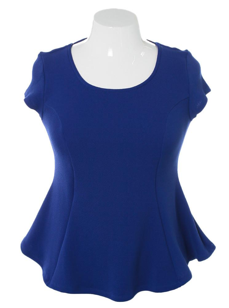 Plus Size Braid Cut Out Back Blue Top