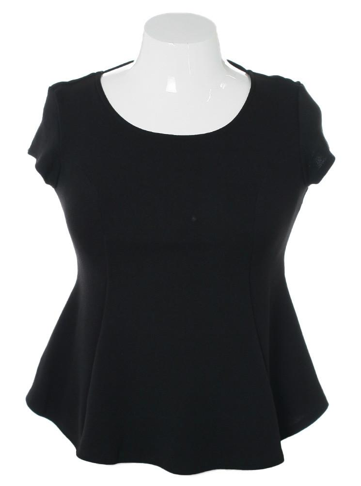 Plus Size Braid Cut Out Back Black Top