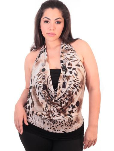 Plus Size Leopard Print Tube Brown Halter