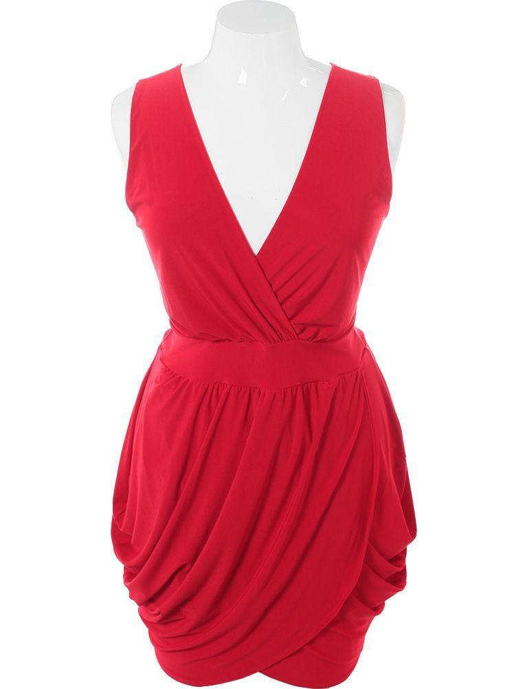 Plus Size V Neck Red Bubble Dress