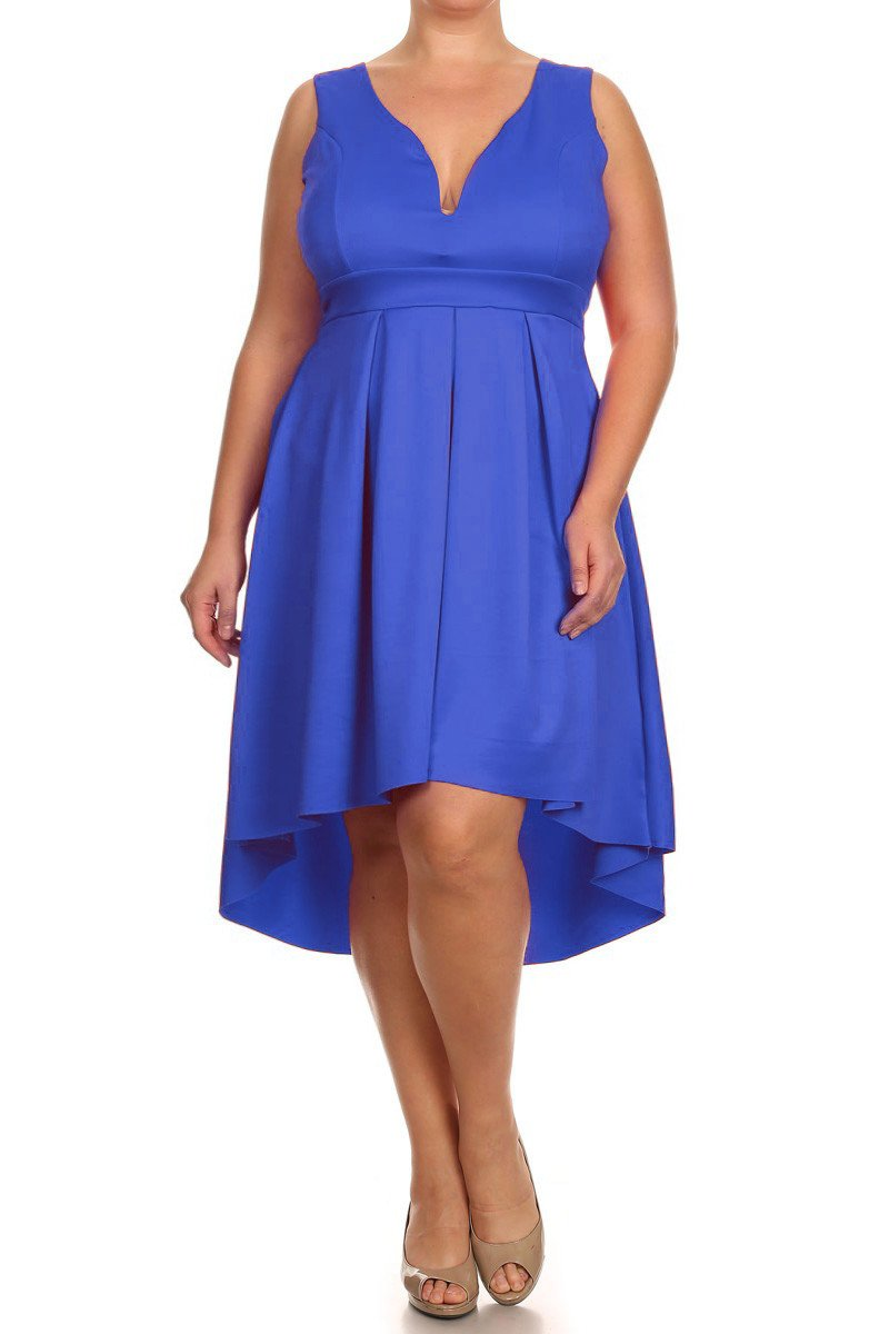 Plus Size Beautiful Hi-Lo Pleat Flare Dress [SALE]
