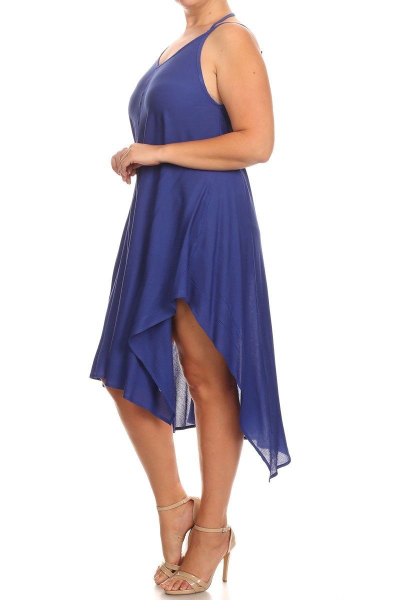 Plus Size Divine Hanky Hem Sheer Dress