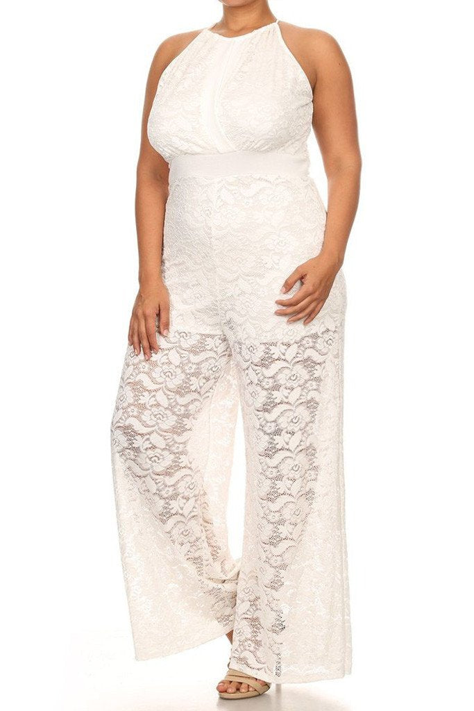 Wide Leg Sleeveless See Through Plus Size Jumpsuit