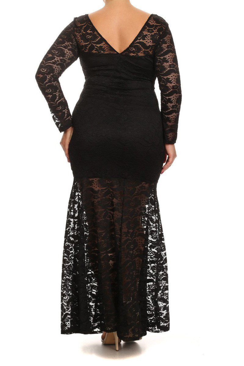 1505baaab7 See Through Lace Front Slit Plus Size Maxi Dress
